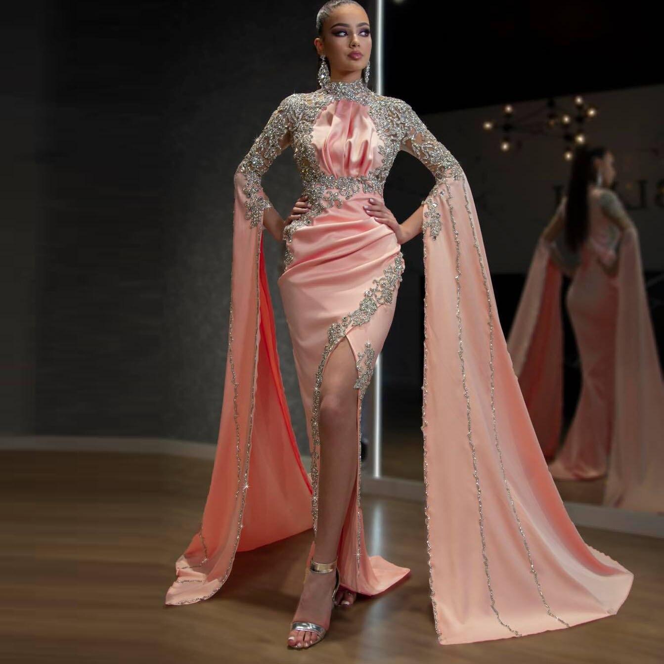 Abendkleider-فستان حفلة على شكل حورية البحر ، أنيق ، كريستال ، أكمام منتفخة طويلة ، مثير ، شق جانبي ، طويل ، دبي ، 2020