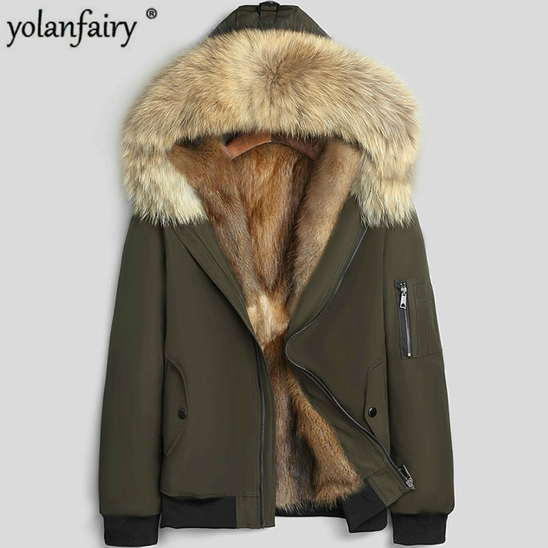 قصيرة معطف الفرو الحقيقي الرجال سترة فرو منك سترة الشتاء الراكون الفراء طوق مقنعين جواكت شتوية رجالي سترات 2020 LSY1291 KJ3581