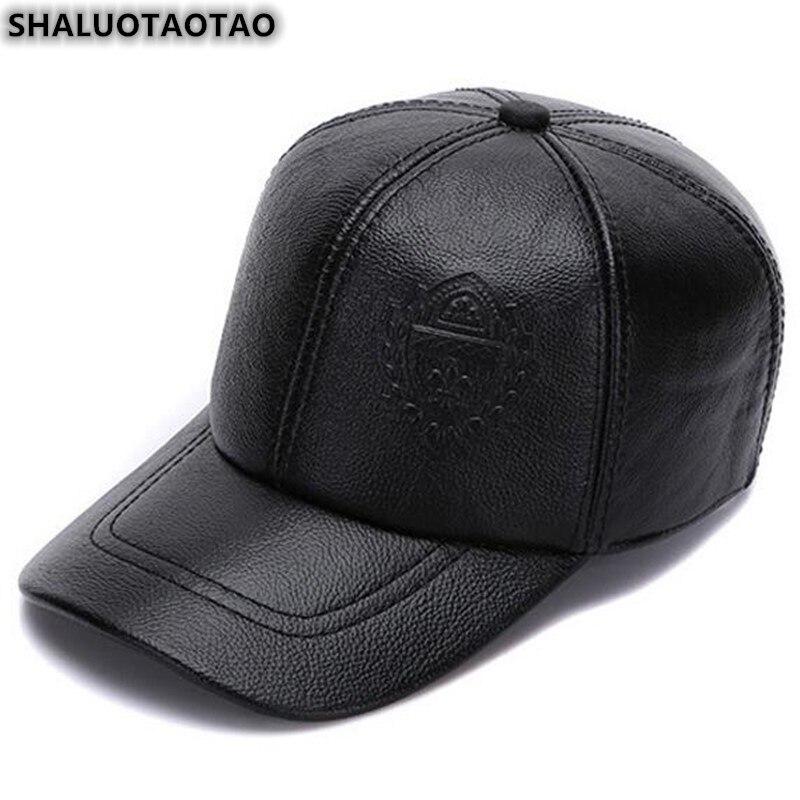 Shaluotaotao tamanho ajustável chapéu de couro genuíno para homens outono inverno moda boné de beisebol lazer marcas snapback bonés