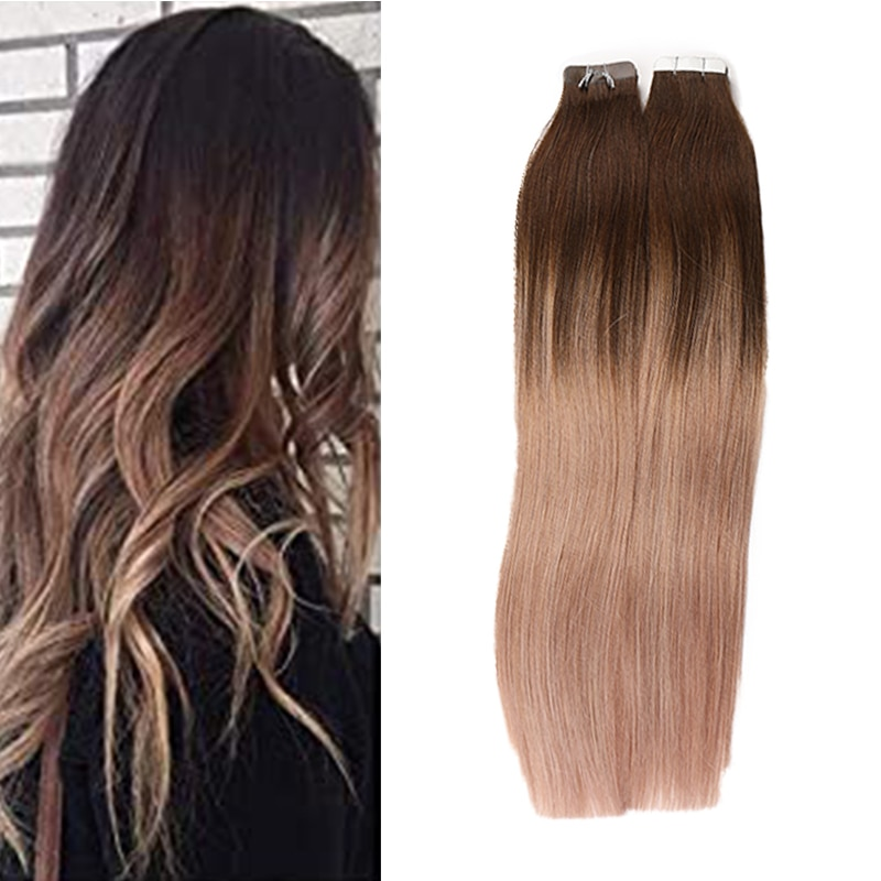 alishow tape in remy human hair extensions double drawn hair straight invisible skin weft pu tape on hair extensions Brazilian Tape In Extensions Human Hair Double Side Tape Skin Weft Invisible Hair Extensions Silk Straight For Women