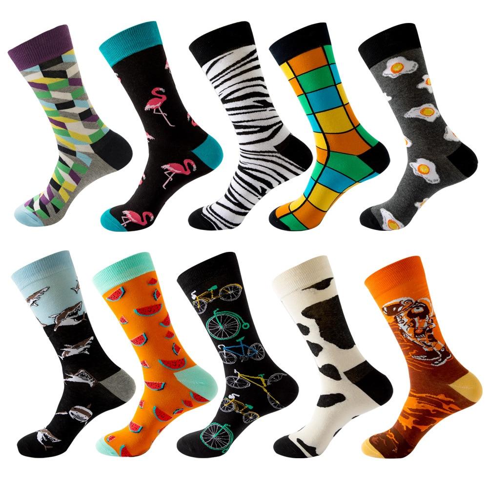 Мужские носки в стиле Харадзюку, мультяшный тренд, Акула, фламинго, арбуз, Зебра, велосипедный узор, полосатые, радуга, Вселенная, фрукты
