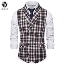 RUELK Spring Autumn Mens Business Casual Slim Fashion Vests Men Plaid Double Breasted Vests Fit Male Suit For Men  M-3XL