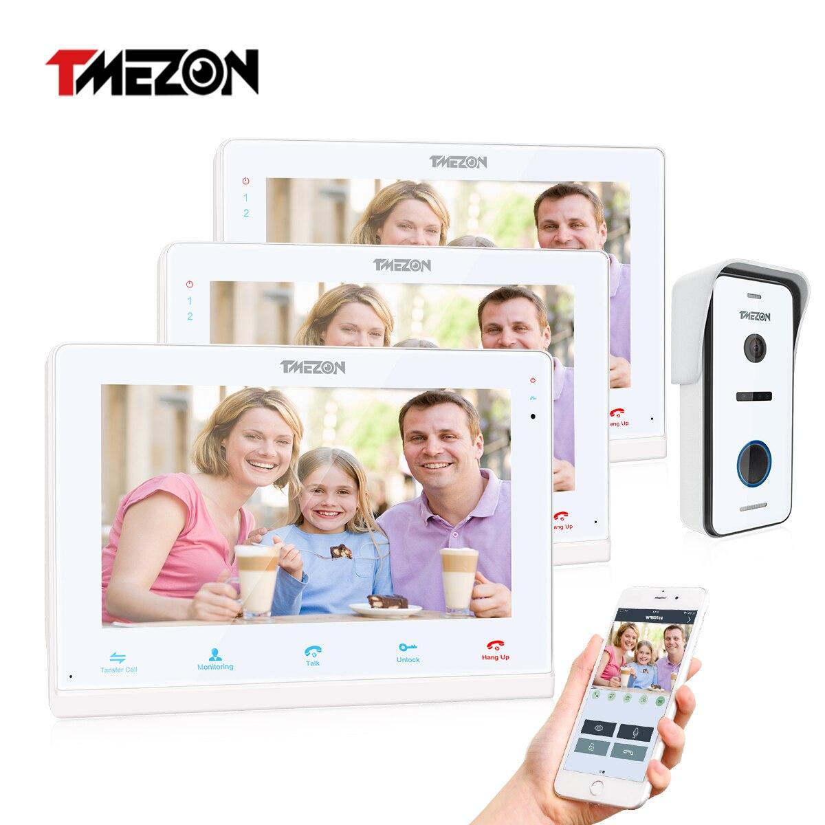 Умный видеодомофон Tuya TMEZON, беспроводной Wi-Fi дверной звонок, монитор 10 дюймов + 2x7 дюймов с проводным камера домофона 1x720P