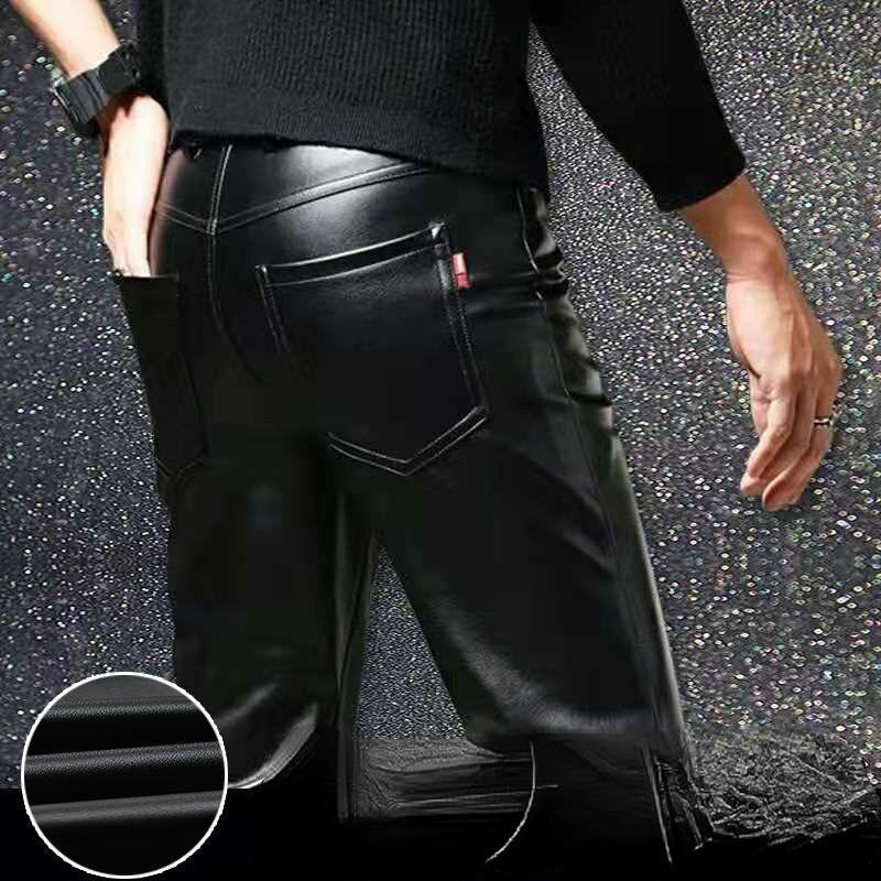 Мужские кожаные брюки, облегающие кожаные брюки из искусственной кожи, эластичные однослойные мотоциклетные кожаные брюки, мужские водоне...