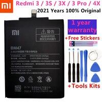 2021 год 100% оригинальный сменный аккумулятор XiaoMi BM47 Высокое качество 4000 мАч для Xiaomi Redmi 3 3S 3X 4X / 3Pro с бесплатными инструментами