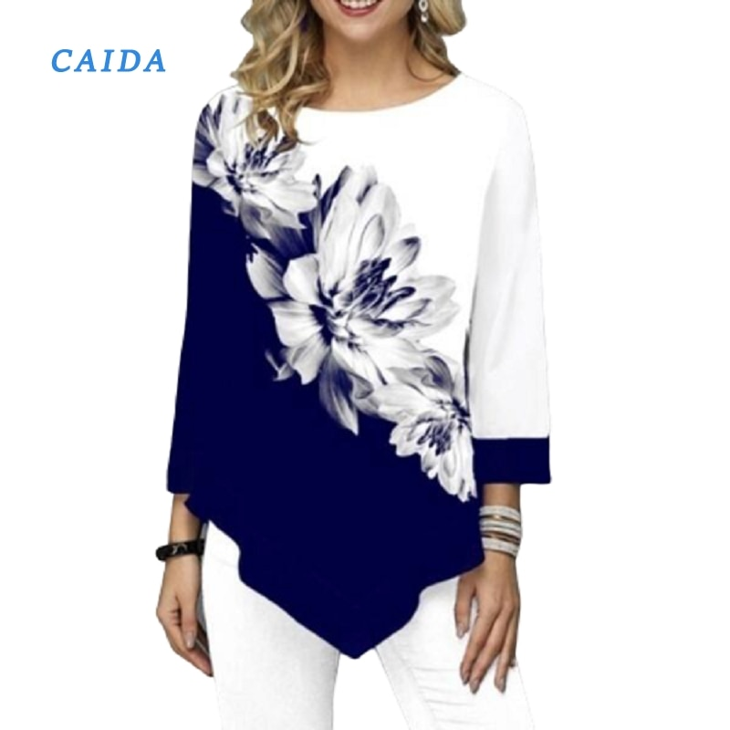 CAIDA Irregular Flower Print Long Sleeve Tshirt Women O-Neck Fashion Clothes Female Tee Shirts Casual S-5XL