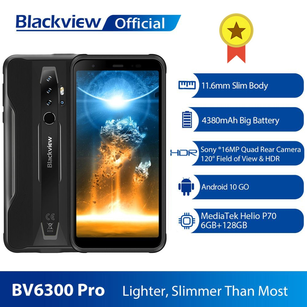 BLACKVIEW BV6300 Pro Helio P70 6GB+128GB Smartphone 4380mAh Android 10 Mobile Phone Quad Camere NFC IP68 Waterproof Rugged Phone