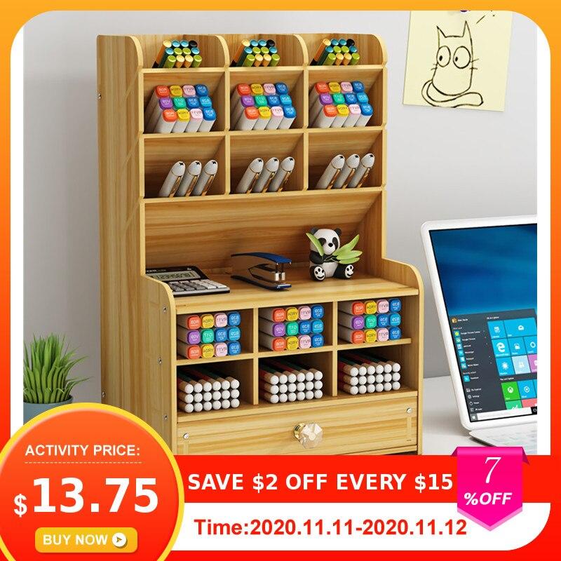 Support de rangement multifonctionnel de bureau en bois porte-stylo, support de rangement pour papeterie de bureau ou école organiseur de stylos