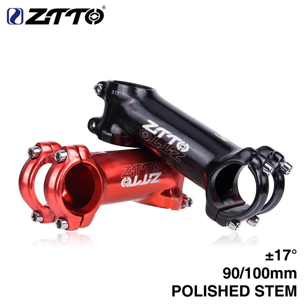 Polido haste de bicicleta 90mm 100mm 17 graus de alta resistência leve 31.8mm para xc trail mtb mountain road bike parte brilhante quente