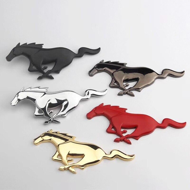 Para Ford Mustang Shelby GT carro adesivo 3D Metal Cromado Prata Cabeça de Cavalo de Corrida Frente Capa Grille Emblema Do Emblema.