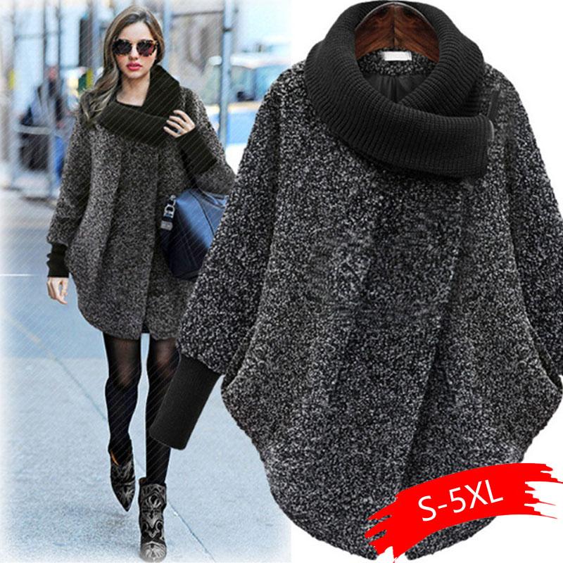 2020 Plus Größe Fledermaus Ärmeln Woolen Mantel Schal Kragen Jacken Frauen Winter Mode Oberbekleidung Dicker Lose Mantel Zipper Casual