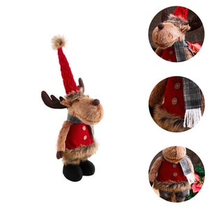 1pc Funny Elk Ornaments Christmas Theme Standing Doll Stretchable Plush Doll