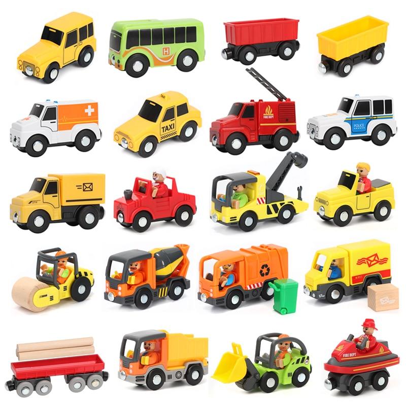 Магнитный автомобильный игрушечный поезд трек-сцена, автомобильные аксессуары для грузовиков, совместимые с деревянной дорожкой BIRO, детск...