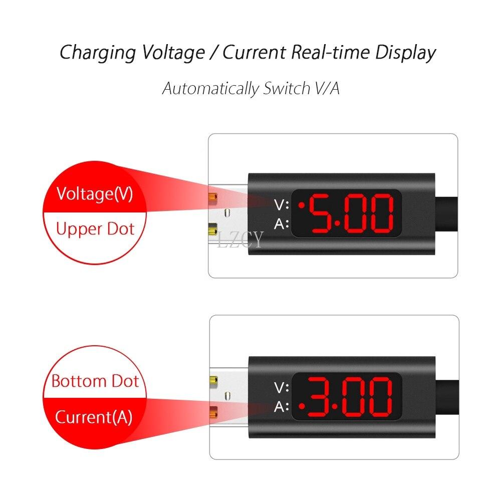 Cable USB con pantalla LED para móvil, cargador de carga rápida de...