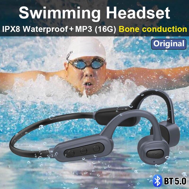 IPX8 مقاوم للماء السباحة MP3 بلوتوث سماعات HD دعوة 16 جيجابايت اللاسلكية سماعة ستيريو كبير مكبر صوت سماعة أذن تلتف حول الرأس