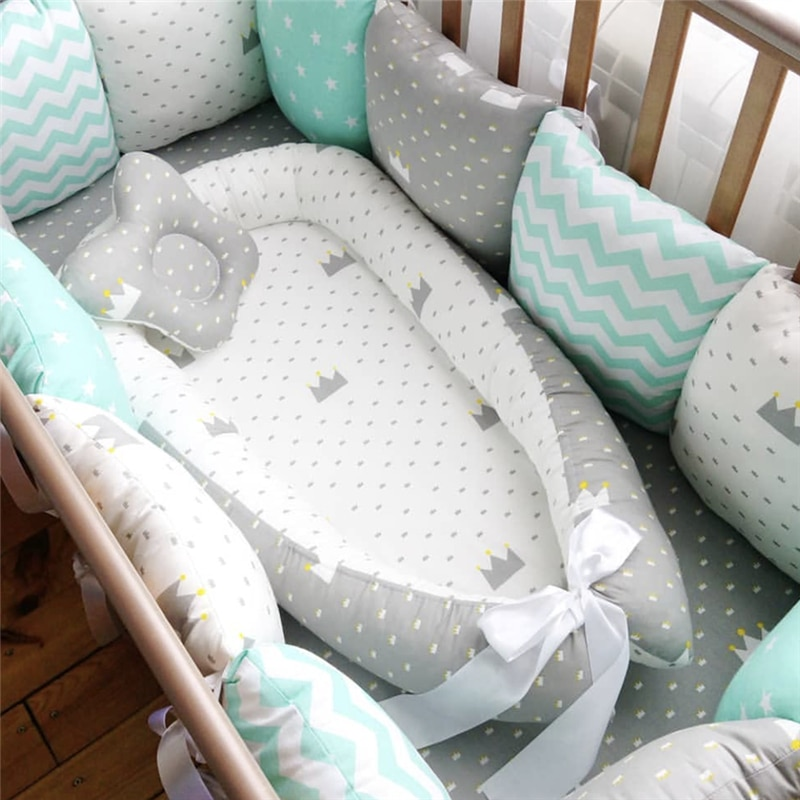80*50cm Baby Nest Bed Portable Crib Travel Bed Outdoor Bed Infant Toddler Cotton Cradle for Newborn Baby Cot Bed Bassinet Bumper