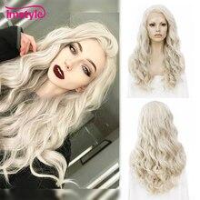 Imstyle, pelucas con encaje frontal rubio ceniza para mujeres, Peluca de pelo sintético, pelucas de Cosplay largo ondulado, pelucas sin pegamento de fibra resistente al calor de 24 pulgadas
