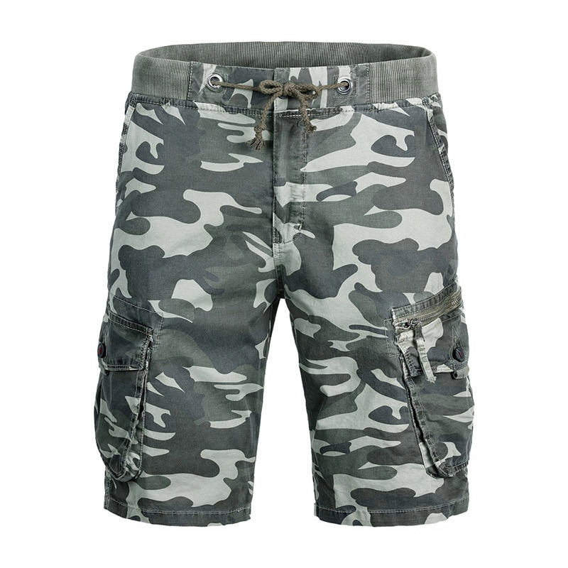 Camouflage Waist Shorts Men Army Combat Military Shorts Air Gun Cargo Shorts Tactical Paintball Summer Elastic Waist Work Pants men s camouflage style lace up slimming elastic shorts