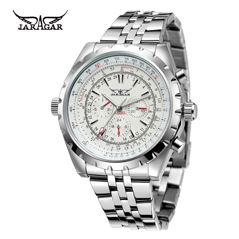 Jargar ساعة ميكانيكية رجالية شخصية عادية تاريخ الأسبوع التلقائي ساعة ميكانيكية ساعة معصم ساعة بيضاء