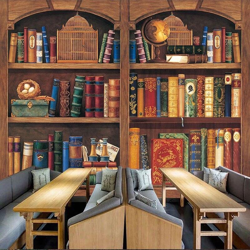 Papel pintado personalizado estilo europeo Retro estantería marco de madera murales biblioteca librería estudio telón de fondo adhesivo 3D papel tapiz