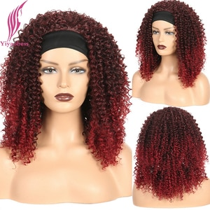 Yiyaobess 40cm Synthetic Medium Long Curly Headband Wig Brown Auburn Ombre Hair Highlights Wigs For Women Perruque Bandeau Femme