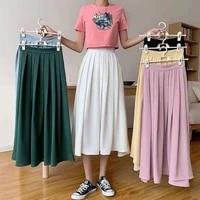 autumn elegant pleated school girl skirt elastic high waist women long skirt female autumn ladies high quality midi skirt saia