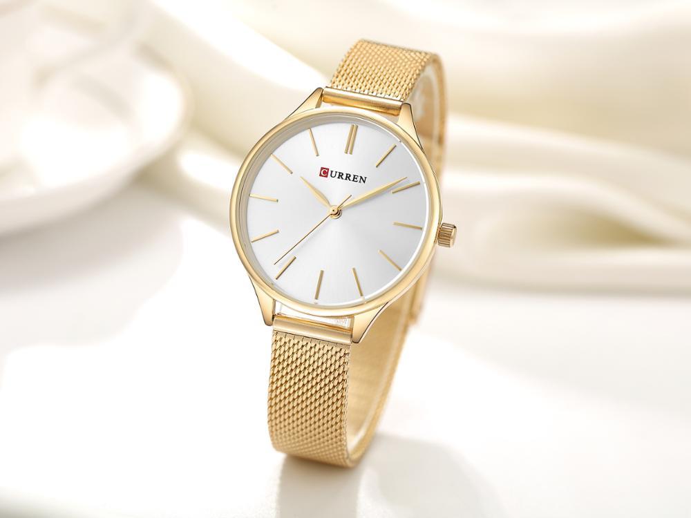 CURREN Female Watch Trendy Quartz Gold Watch Luxury Brand Woman Watch 2019 Stainless Steel Wristwatch Waterproof Bayan Kol Saati enlarge