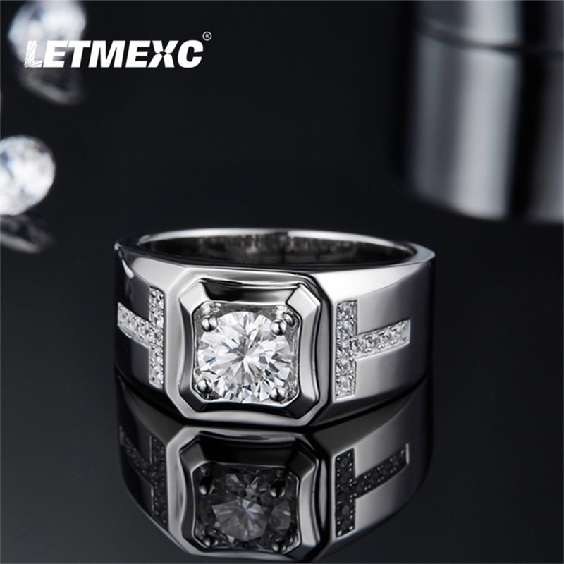 Genuine 1CT D Color VVS Moissanite Diamond Ring Men's Sterling Silver Personality Male God Series Male Ring