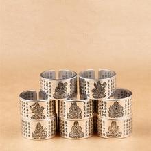 Vintage amulette bouddha coeur Sutra anneaux bouddhistes pour hommes femmes ouverture bague de bénédiction bijoux en argent plaqué