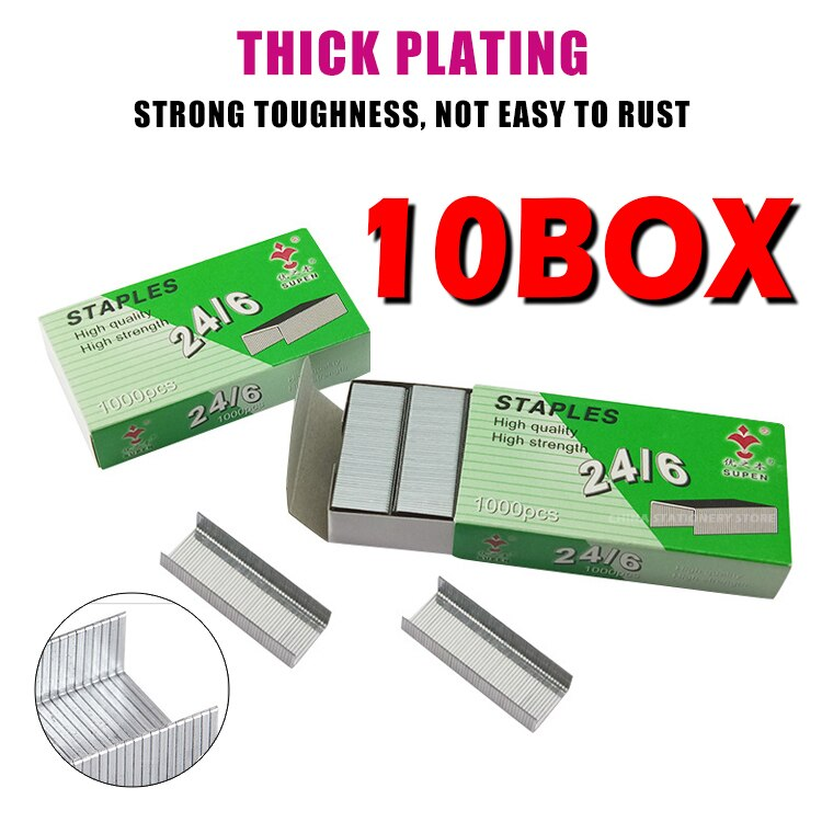 10box/10000pcs 24/6 Staples Standard Universal Needle Boxed Office Learning Storage Binding Staples