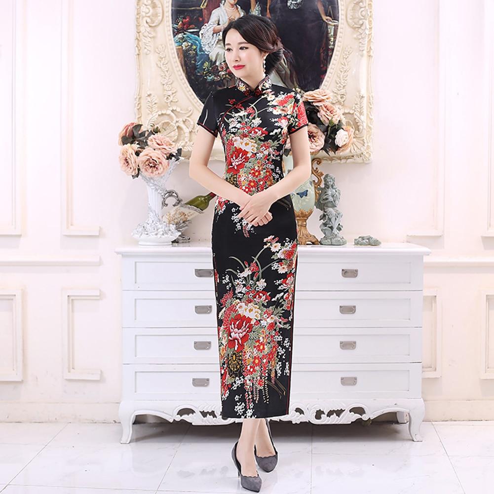 Chinese Traditional Dress Flower Print Elegant Short Sleeve Cheongsam Stand Collar Tight Bodycon Women