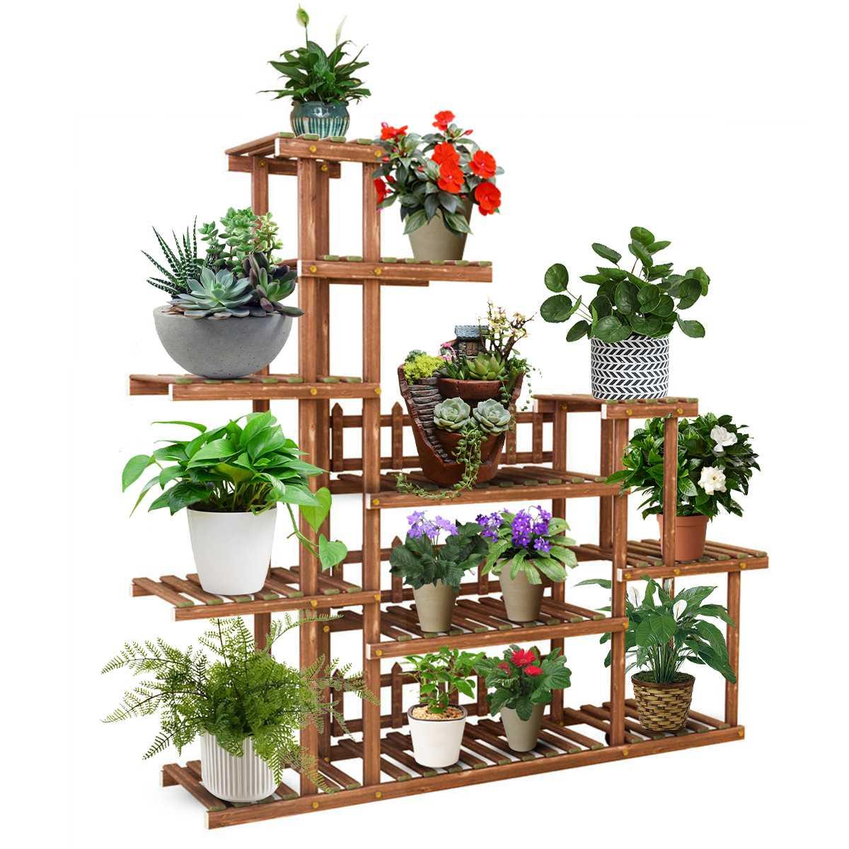 5 Tiers Multi Tier Flower Plant Holder Stand Rack Wood Shelves balcony flower rack Plant stand Garden Bonsai Display Shelf