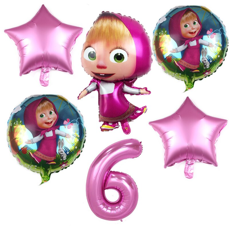 6pcs Girl And Bear Theme Cartoon 32 inch Pink Number Foil Balloons Birthday Party Decorations Supplies Helium Supply