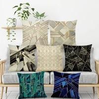 1pcs geometry cushion cover cotton linen 4545cm pillowcase cojines decorativos home bedroom sofa decor marbling pillow cover