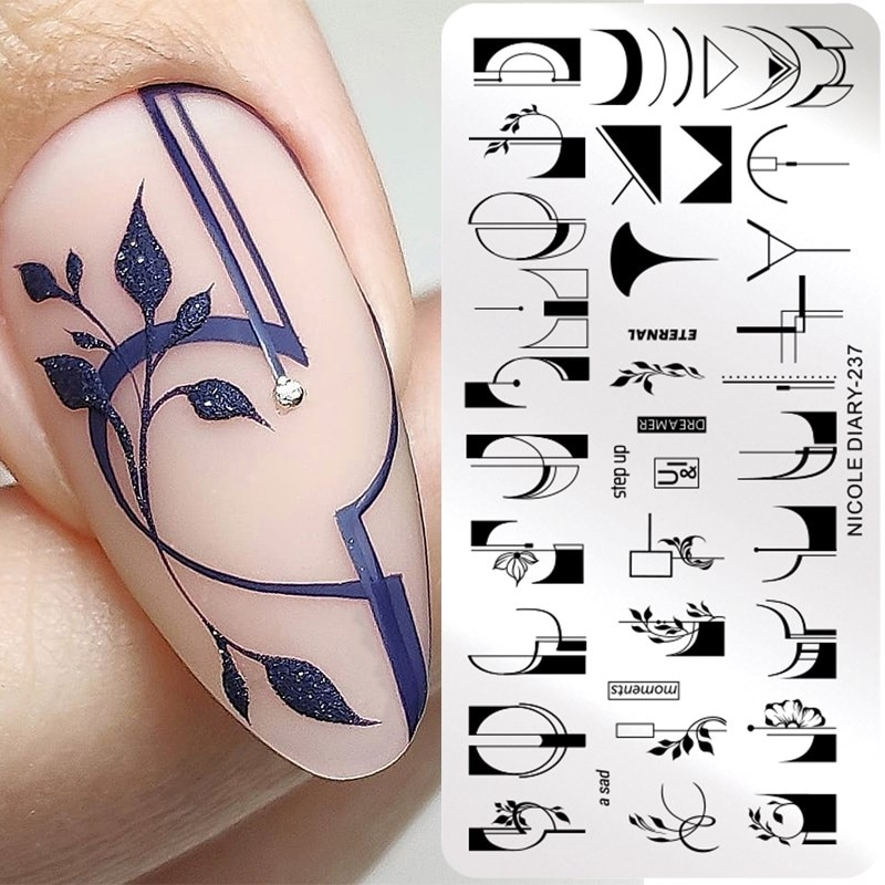AliExpress - NICOLE DIARY French Line Flower Nail Stamping Plates Abstract Women Face Snake Pattern Nail Art Stamp Stencil Printing Tools