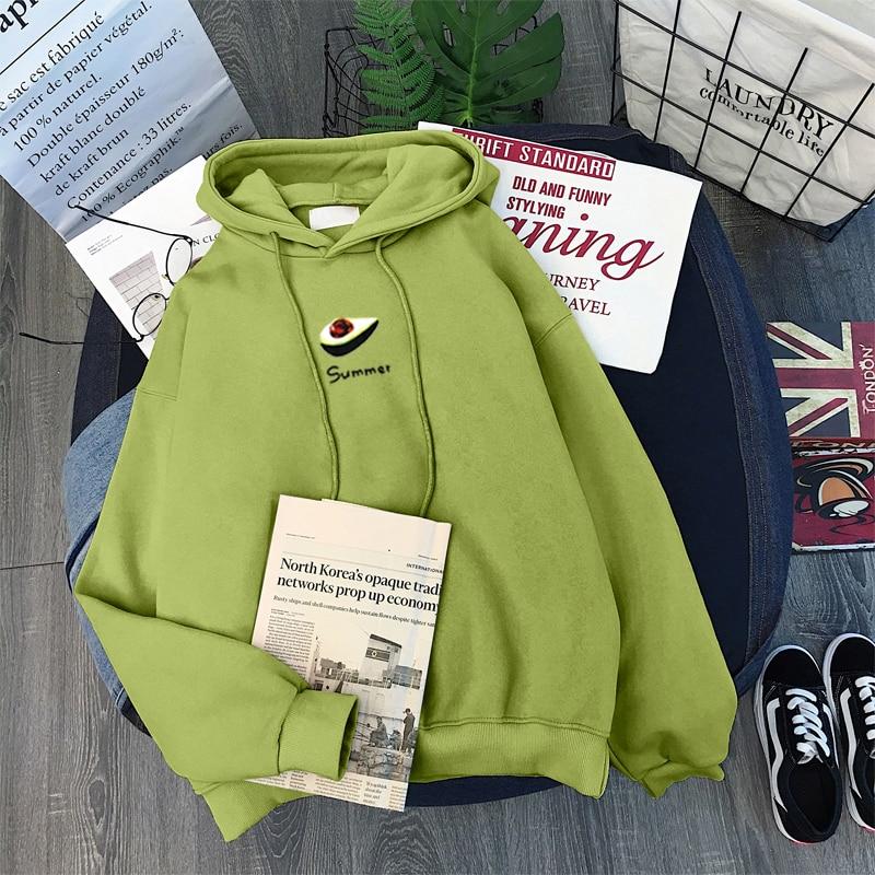 Sudadera verde aguacate mujer más terciopelo invierno nuevo ins Harajuku vintage Corea tamaño grande suelta casual mujer Sudadera con capucha