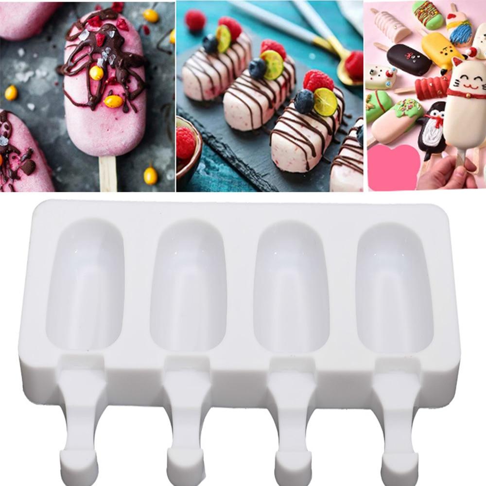 4 celular Picolé Moldes de Silicone Ice Cream Mold DIY Caseiro Sobremesa Suco de Frutas Freezer Ice Maker Mould Com Varas