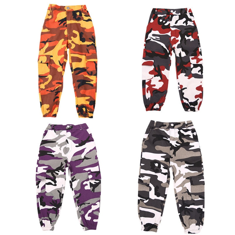 Wine Kid Hip Hop Clothing Camouflage Jogger Pants for Girls Jazz Dance wear Costume Ballroom Dancing