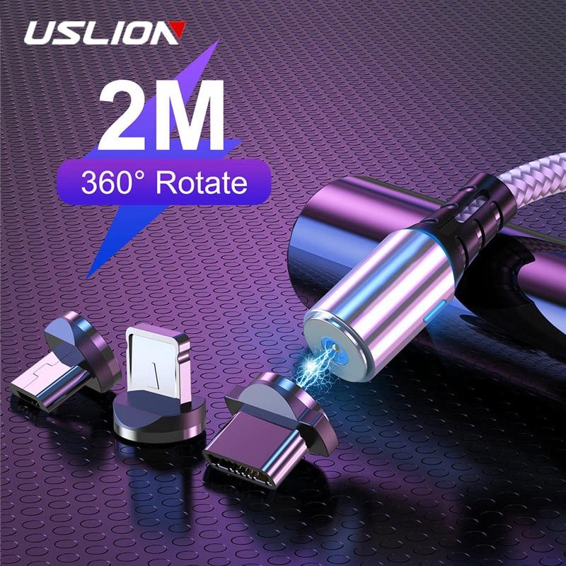 USLION 2M Cable de carga USB magnético para Samsung S8 iPhone 8 Plus LED imán Micro USB tipo C Cable USB-C cargador de teléfono móvil