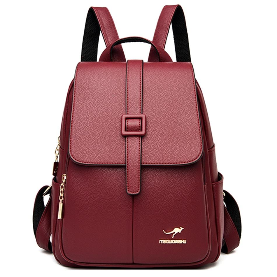 حقيبة ظهر جلدية عالية الجودة للنساء ، حقيبة مدرسية عصرية للمراهقين ، للسفر ، 2021