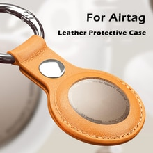 UTOPER Luxuriouy Leather Protective Case For Airtag Cover Hangable Keychain Locator Tracker Case For