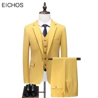 newest design bright yellow groom wedding suits for men 2021 fashion slim fit formal suit male three piece prom party wear