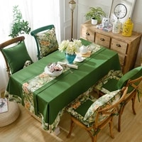 flower decorative cotton tablecloth and runner thicken rectangular christmas decor wedding dining table cover tea table cloth