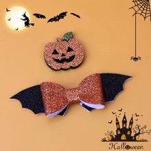 Oaoleer 2 stücke Halloween Haar Bögen Glitter Fledermaus Flügel Kürbis Haarnadeln Clips Für Mädchen Kinder Bling Halloween Grips Zubehör