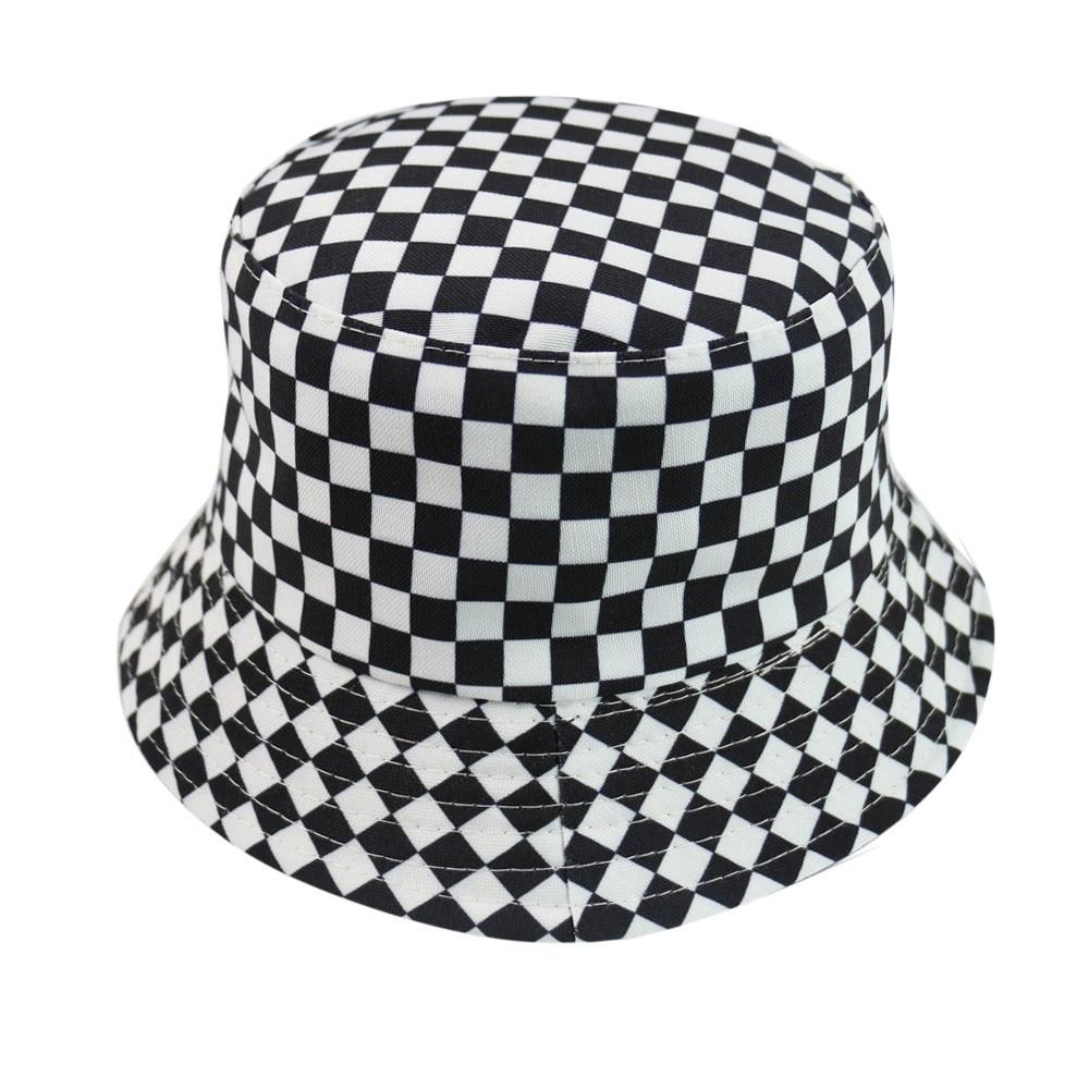 Sombreros de pescador a cuadros blancos y negros para hombres y mujeres