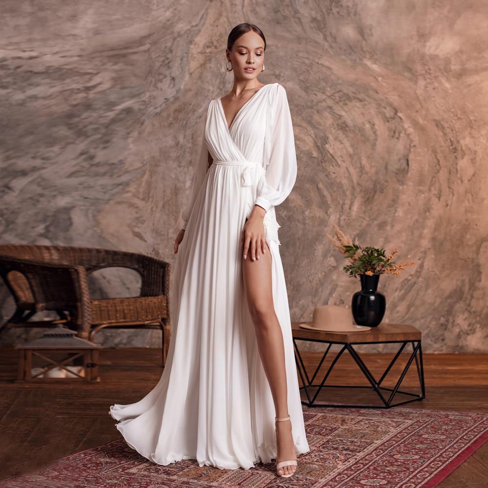 Jiayigong-فستان زفاف بسيط ، مثير ، ياقة على شكل V ، أكمام طويلة ، شيفون عادي ، خط A ، شاطئ ، فستان زفاف ، شق جانبي