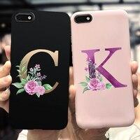 Силиконовый чехол с буквами алфавита и цветочным принтом для iPhone SE 2020, 5, 10, 6s, 7, 8, мягкий чехол на ощупь, черный, розовый, матовый чехол для тел...