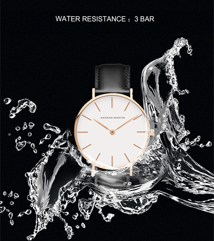 TOP Brand Hannah Martin Hot Sale Classic Women Watch with Simple 30m Waterproof Leather Band Watch enlarge