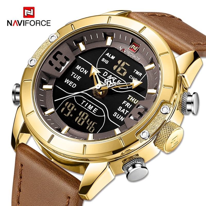 dom 2017 lovers watch couple watch luxury brand white gold watch waterproof style quartz leather wrist watch NAVIFORCE Quartz Watch Men Luxury Brand LED Digital Sport Waterproof Wrist watches Male Leather Strap Business Gold Watch Clock