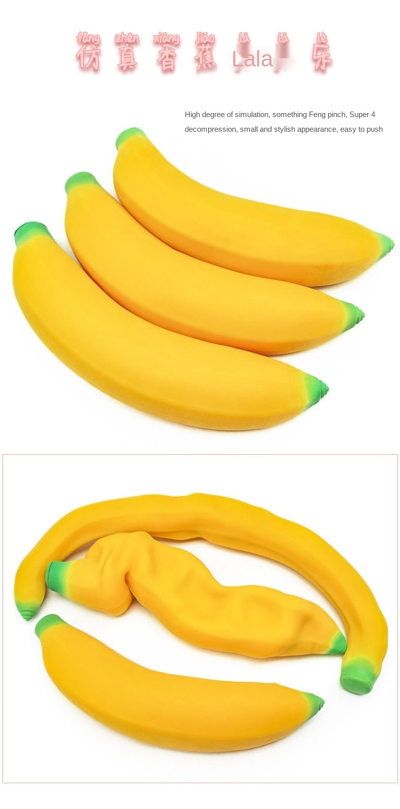 2021 Best Seller TPR Banana Simulation Lala Pad Lassa Filling New Strange Vent Stress Toy Cute Squishy Toys Stress Reliever enlarge